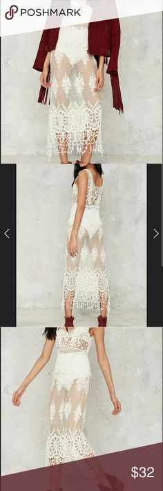 Nasty Gal Women's Natural Chantilly Sheer Dress Nasty Gal Women's Natural Chantilly Bass Sheer Dress in Medium New With Tags and in original packaging. Amazing boho dress perfect for layering or going all out in elegance :)  Bundle to save 20%  Happy Poshing :) Nasty Gal Dresses