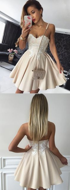 champagne sweetheart homecoming party dresses, simple short prom dresses, fashion semi formal dresses.