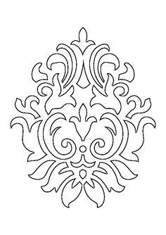 Damask Stencil, Stencil Patterns, Stencil Art, Stencil Designs, Pattern Art, Hand Embroidery Designs, Embroidery Patterns, Free Hand Drawing, Diy Wall Art