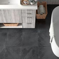 Slate Stone, Stone Tiles, Slate Flooring, Kitchen Flooring, Flooring Sale, Patio Flooring, Bathroom Floor Tiles, Basement Bathroom, Grey Slate Bathroom