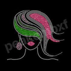 Bling Iron On Afro Girl Rhinestone Transfers Glitter Motifs Decoration for Dress