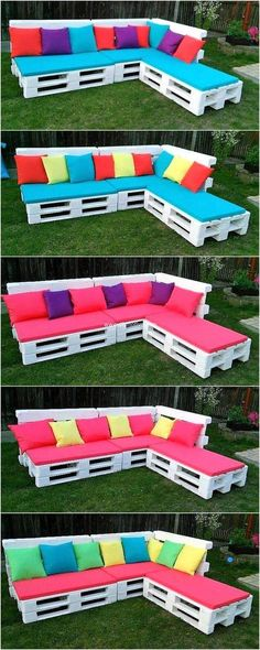 For providing this corner sofa an appealing wooden furniture look we have perfected this with white color paint and bright colors cushions on it. Don't waste the useless wood pallets, reshape it and create new wooden pallet furniture with it by utilizing these ideas. #sofa #sofaideas #palletsofa #pallets #palletideas #recycledpallet #woodpallets #palletproject