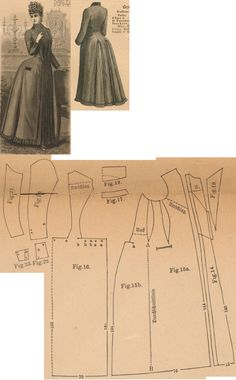 Der Bazar 1887: Brownish-red flanel morning gown; 14. front part's insertion, 15. front part, 16. back part in half size, 17. standing collar in half size, 18. and 19. lapel parts, 20. and 21. sleeve parts, 22. and 23. cuff parts