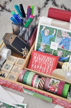 Ready to get started on your holiday cards? Make a caddy to get all your supplies ready. Great tutorial from IHeart Organizing: UHeart Organizing: Organized Holiday Card Caddy