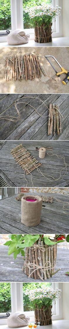 DIY Flower Arrangement In  Twig Flower Pot