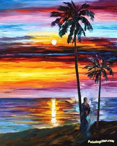 Caribbean mood Artwork by Leonid Afremov Hand-painted and Art Prints on canvas for sale,you can custom the size and frame