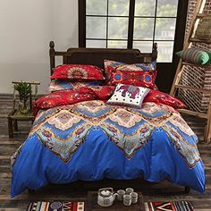 Vaulia Lightweight Polyester microfiber Reversible Duvet Cover Set, Print Floral Design, Full Queen Size * More info could be found at the image url.