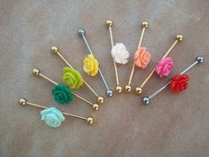 Choose Your Color Rose Industrial Barbell by Azeetadesigns on Etsy, $15.00