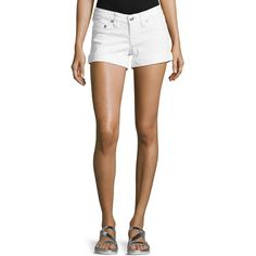 True Religion Rolled-Cuff Denim Shorts ($75) ❤ liked on Polyvore featuring shorts, qy finniga, jean shorts, white shorts, true religion, white jean shorts and short jean shorts