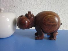 Danish modernist teak figurine HIPPO 50s 60s mid-century modernist