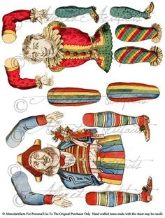 Happy and Jack Marionette Jester Circus Paper Doll Theater Puppet Articulated Puppet Digital Collage Sheet Circus Clowns Toy Model Vintage Reproduction via Etsy Vintage Artwork, Vintage Paper, Vintage Prints, Paper Puppets, Paper Toys, Paper Art, Paper Crafts, Foam Crafts, Toy Theatre