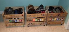 DIY shoe crates on wheels for the kids. Plans from Ana White