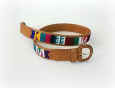 1970s Vintage Leather Belt  Kilim Belt  The by Sweetbeefinds, $28.00