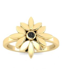 Items similar to Black Diamond Yellow Gold Promise Ring - Dainty Flower on Etsy Black Diamond Jewelry, Clean Gold Jewelry, Diamond Gemstone, Black Band Engagement Rings, Wedding Ring Bands, Gold Promise Rings, Traditional Engagement Rings, Black Rings, Natural Diamonds