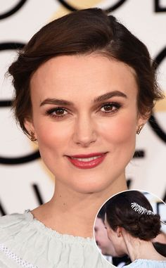 Keira Knightley from Best Beauty Looks at the 2015 Golden Globes  OK, so her dress wasn't the best…but her hair and makeup certainly were. And her sparkly feather hair clip was the cherry diamond on top.