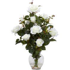 Faux rose bush arrangement. Product: Faux floral arrangment Construction Material: Silk and glass Featu...