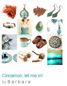 """☛www.etsy.com/shop/paroliro ~ """"Cinnamon, let me in!"""" features Fall Autumn fashion accessories in shades of cinnamon, nutmeg, copper with turquoise and aquamarine blues from talented fellow worldwide Etsians [*Click on image to see all 16 items I chose and for more information]☚"""
