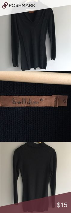 Belldini black size S sweater Belldini black, ladies S, cable knit front, shawl collar, 31in shoulder to hem. Great with leggings. Worn but in good condition. No holes or stains. Belldini Sweaters