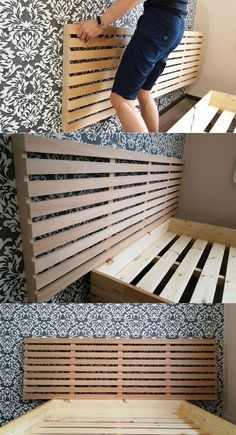Diy Bed Headboard, Wallpaper Headboard, How To Make Headboard, Headboards For Beds, Pallet Headboards, Pallet Benches, Pallet Tables, Pallet Bar, Outdoor Pallet