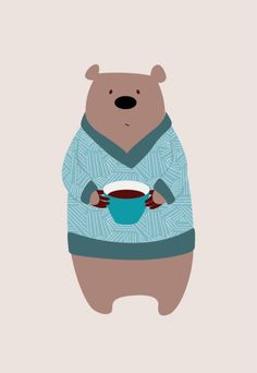 Coffee Bear kids illustration by Alisa Knatko Cute Bear Drawings, Animal Drawings, Kids Prints, Baby Prints, Flowers Wallpaper, Poster Photo, Art Watercolor, Bear Sketch, Bear Illustration