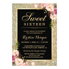 Sweet Sixteen Birthday Party Invitation Classy Gold Glitter Floral Sweet 16 Birthday Party Card