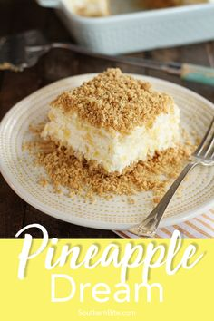This Pineapple Dream recipe is a light, fluffy dessert of crushed pineapple, cream cheese, and whipped topping, all sandwiched between layers of a delicious graham cracker crust. Cream Cheese Desserts, Köstliche Desserts, Summer Desserts, Delicious Desserts, Light Desserts, Cream Cheeses, Pineapple Desserts, Pineapple Recipes, Pinapple Dessert Recipes