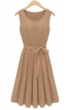 Coffee Sleeveless Pleated Belt Chiffon Dress