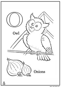 alphabet o with picture coloring pages owl onions