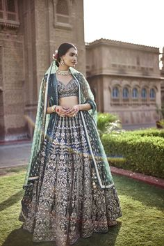 Looking for Dark green Anita dongre lehenga? Browse of latest bridal photos, lehenga & jewelry designs, decor ideas, etc. on WedMeGood Gallery. Indian Bridal Outfits, Indian Bridal Lehenga, Indian Bridal Wear, Indian Designer Outfits, Indian Dresses, Bridal Dresses, Anita Dongre, Designer Bridal Lehenga, Lehenga Style