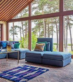 IKEA Vallentuna sofa with a Bemz slipcover   Midcentury modern home   Huge panorama windows in a retro house