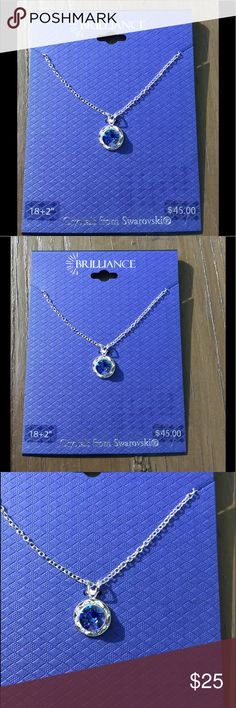 🆕 Brilliance Crystals from Swarovski ! 💙 Brilliance ! Crystals from Swarovski ! Silver tone delicate chain ! Beautiful Blue round stone in center surrounded by small clear stones ! Just Gorgeous ! 💙 Brilliance Jewelry Necklaces