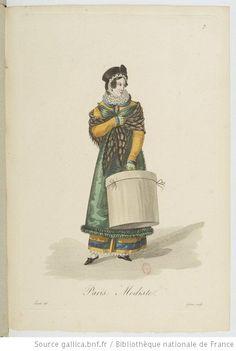 Modiste from Georges-Jacques Gatine, Costumes d'ouvrières parisiennes, 1824, BNF Paris