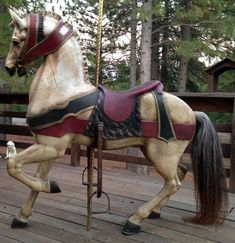 vintage carousel horses - turn of the century All The Pretty Horses, Beautiful Horses, Objets Antiques, Carosel Horse, Wooden Horse, Painted Pony, Merry Go Round, Horse Sculpture, Equine Art