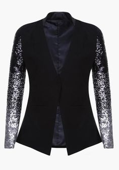 Black Patchwork Sequin Fashion Suit