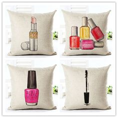 Lipstick Nail Polish Ladies Makeup Theme Cushion Cover for Nail Salon Beauty Spa Store Decor