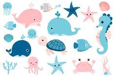 Cute sea animals clipart, Kawaii under sea clip art, seahorse whale turtle octopus jellyfish pink crab fish By Pravokrugulnik