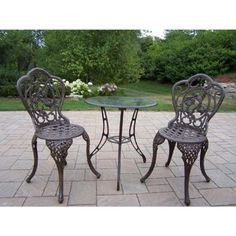 Oakland Living Hummingbird Cast Aluminum 24-Inch Glass Top Table with 3-Piece Bistro Set