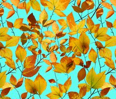 Maine Autumn Leaves fabric by #PatriciaSheaDesigns on Spoonflower - fabric, wallpaper and gift wrap. Created from photos of Maine autumn leaves.
