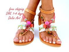 Leather Boho Sandals IO  pink summer sandals