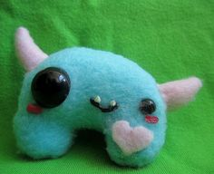 Candy Plush Monster  Cute Tiny Pink and Blue with by WonkyCritters, $7.00