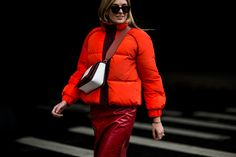 Best New York Fashion Week Fall 2017 Street Style Statement Coats: We've got leather, vinyl, puffers, and Olivia Palermo in fur—pick your poison. --- Bright orange puffer bomber jacket. | Coveteur.com