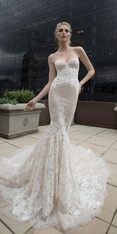 inbal dror 2016 wedding dress with strapless sweetheart lace mermaid wedding dress nude style 17 mv train / http://www.deerpearlflowers.com/inbal-dror-fall-wedding-dresses-2016-new-york-colletion/2/