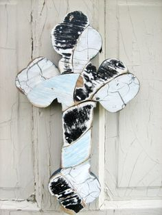 Mosaic Wall Cross Reclaimed Wood Art Black White Blue by woodenaht, $32.00