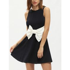 SheIn(sheinside) Navy Sleeveless Cut Out Back Flare Dress With Bow