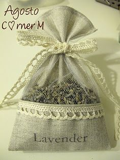 Pretty lavender sachet using left over fabric from chair decoration during wedding Burlap Crafts, Fabric Crafts, Sewing Crafts, Diy And Crafts, Sewing Projects, Lavender Crafts, Lavender Bags, Lavender Sachets, Diy Gifts