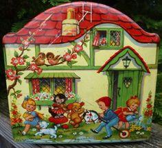 Vintage Cottage Blue Bird Toffee Tin with Nursery Rhyme Characters Vintage Tins, Vintage Love, Vintage Antiques, Vintage Metal, Tin House, Metal Containers, Metal Tins, Antique Toys, Old Toys