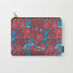 Doodle floral pattern Carry-All Pouch by Katerina Kirilova on Society6 @society6 #society6 #products #design #shop #shopping #buy #sale #fun #gift #idea #accessory #accessories #home #decor #style #fashion #art #digital #contemporary #cool #hip #awesome #awesomeness #chic #fashion #style #floral #pattern #bag #accessory #pouch #cosmetic #women #studio #flower #red #blue