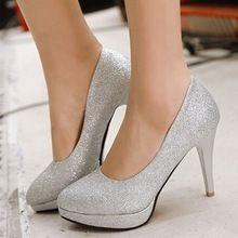Festa de casamento sapatos sexy sapato de bico fino de salto alto sapatos de plataforma ouro prata(China (Mainland))
