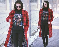Get this look: http://lb.nu/look/8576655  More looks by Katarzyna Z.: http://lb.nu/klaravanpure  Items in this look:  Iron Maiden T Shirt, Seek & Destroy Coat   #edgy #gothic #vintage