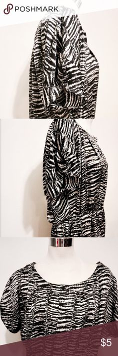 Shiny zebra pattern top/dress by Forever 21 Can be worn as a top or a short dress with tights. Satin type fabric, shiny. Has loops on sides for a belt. By Forever 21. Forever 21 Tops